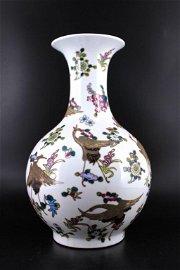 Large Famille Rose Qing Porcelain Vase