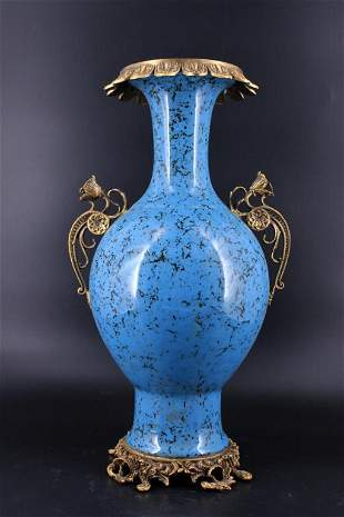 Large Qing Porcelain Blue Vase with Bronze Mount
