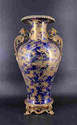 Extra Large Qing Blue Gold Gilted Dragon Vase
