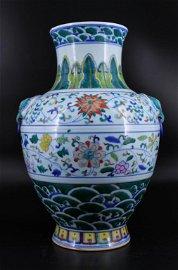 Very Large Qing Porcelain DouCai Vase