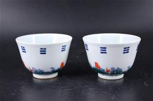 Pair of Qing Porcelain Cup