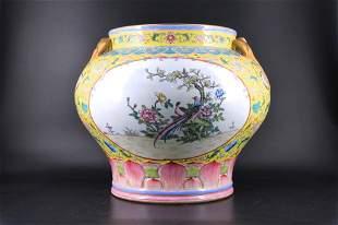 Large Qing Porcelain Famille Rose Jar