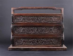 Qing Three-Layer Wooden Box with handle