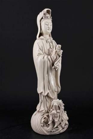 Qing Porcelain Dehuaci White GuanYin Statue