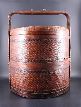 Large Old Bamboo Food Basket