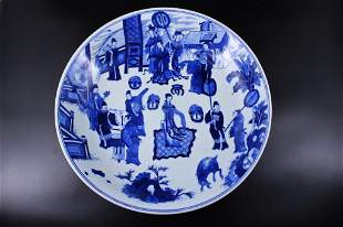 Large Qing Porcelain Blue&White Plate