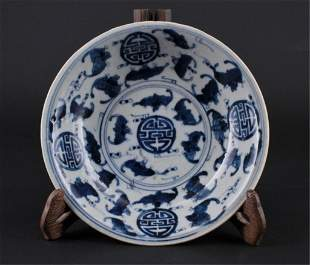 Chinese Qing Porcelain Blue&White Bat Plate
