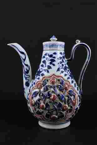 Chinese Ming Verticulated Porcelain TeaPot