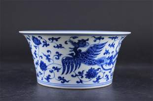 Chinese Ming Porcelain Blue&White Phoenix Bowl