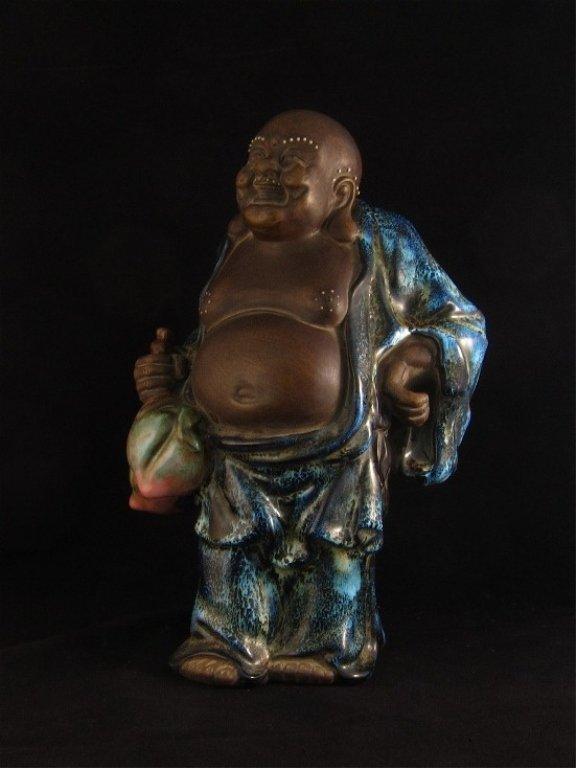 Large Zisha and Porcelain Buddha