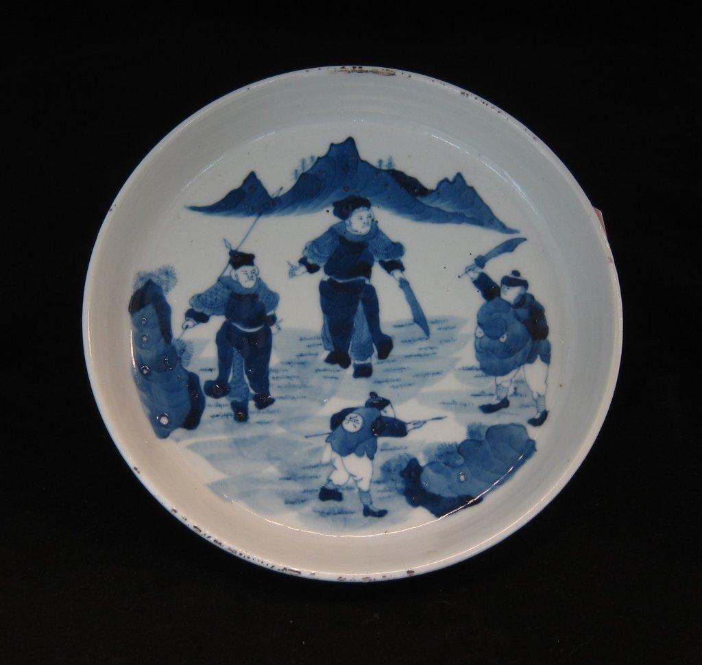 """Antique warriors' 6 1/8"""" diameter plate"""