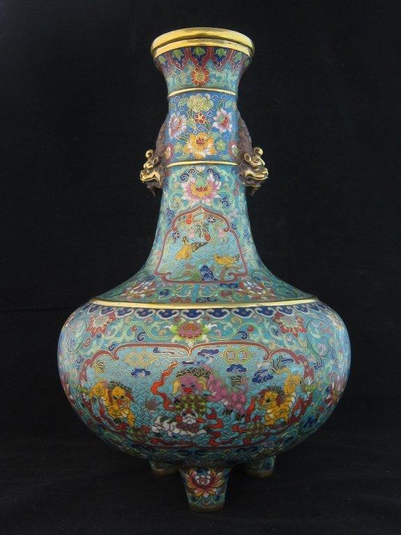 Large Chinese Imperial  Enamel Cloisonne Vase