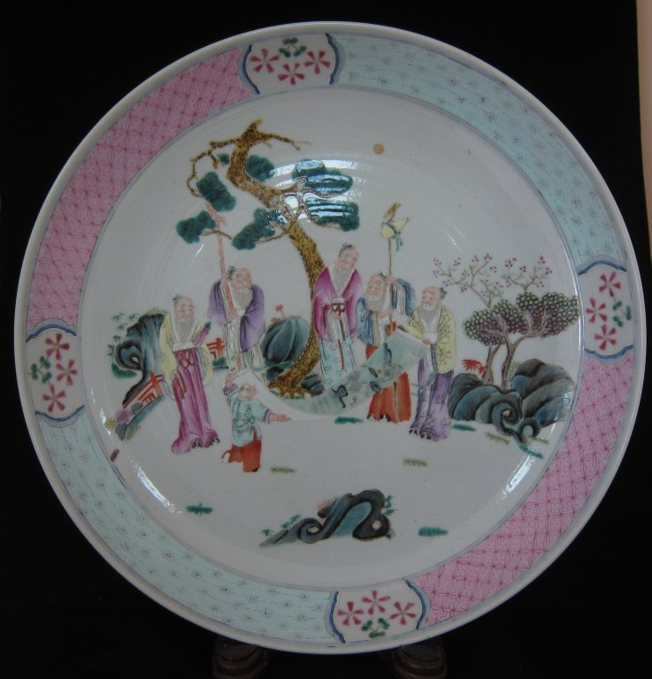 Old Chinese famille ceramic plate