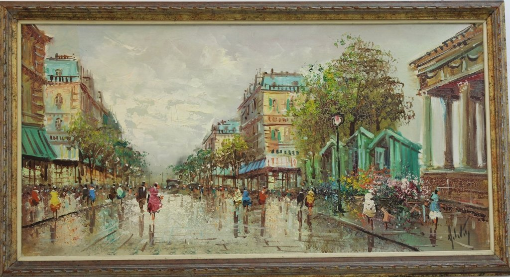 Oil and canvas Paris scene from A de vitty Italy