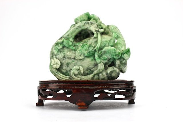 Chinese hand carved green jadeite
