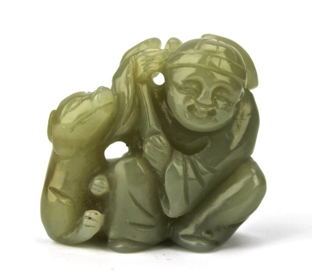 Antique Chinese Hand Carved Jade Group Figure