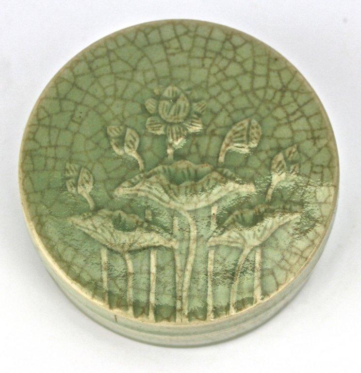 Chinese Lotus carved Porcelain Round Make up Box