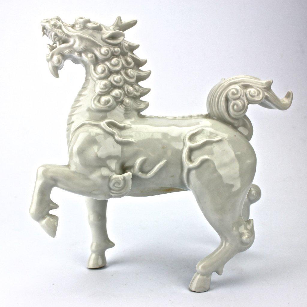 A Mythology Porcelain White Horse Like Figure