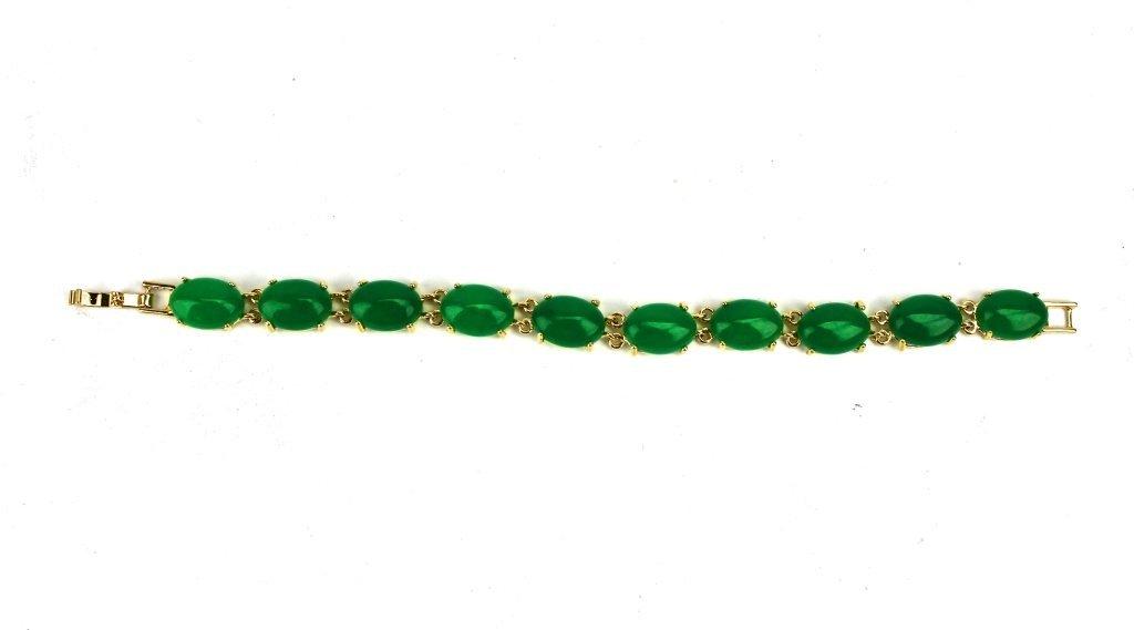 Jade & gold Bracelet-10 pieces jade