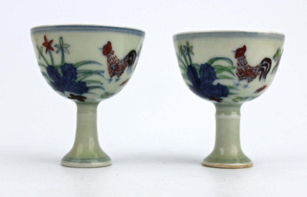 Pair of Ming Cheng Hua Dou Cai Chicken Cups