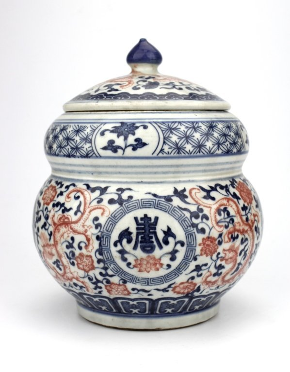Chinese blue & white red flared dragon Jar