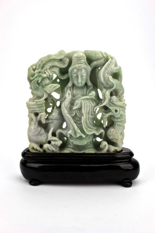 Chinese Jade Carved Guan Yin Plaque