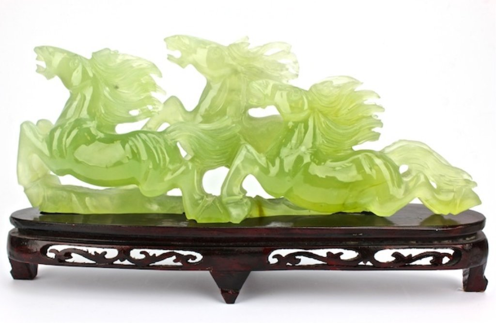 Chinese green jade carved of three Running horses