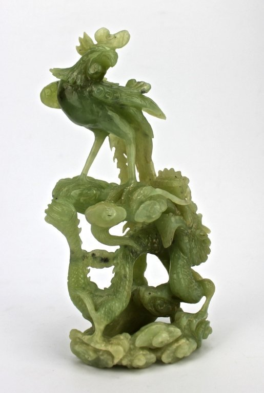Chinese Light Green Hand Carved Jade Figurine