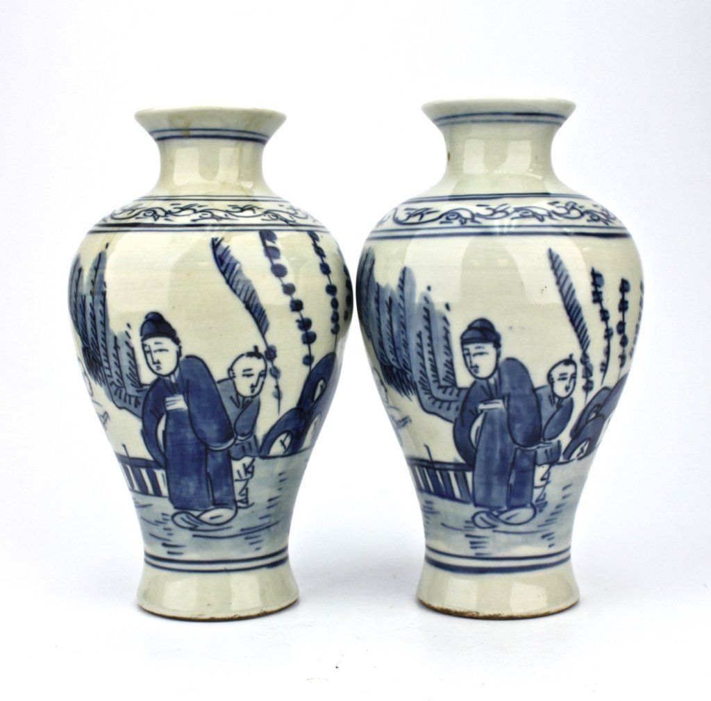 Pair of Chinese Qing Dynasty Blue&White Small Vase