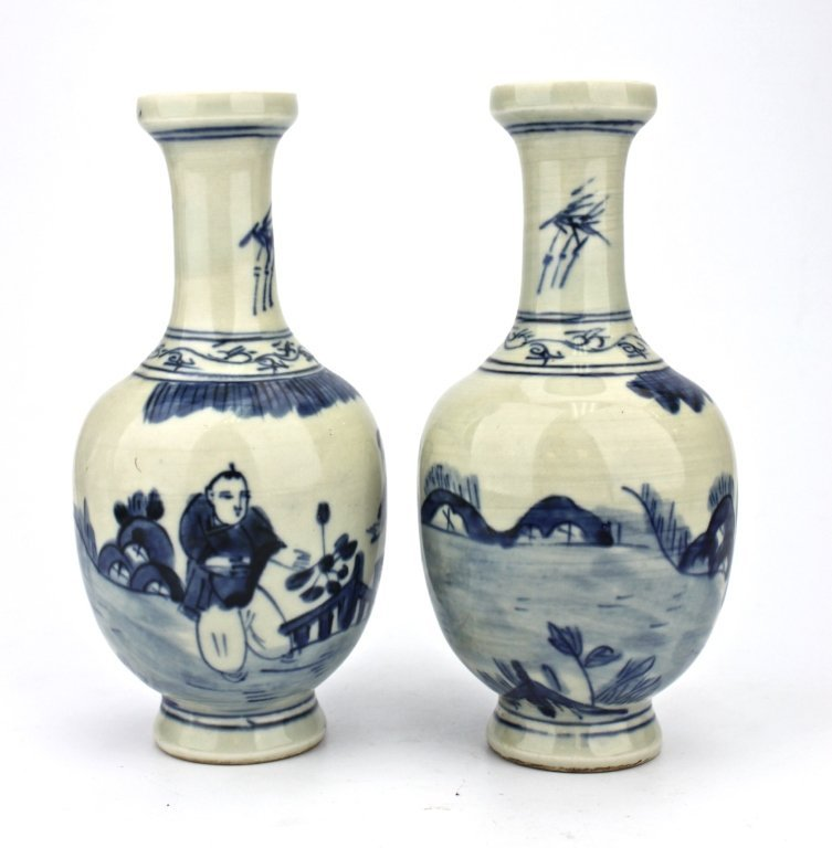 Pair of Chinese Qing Dynasty Blue&Whe