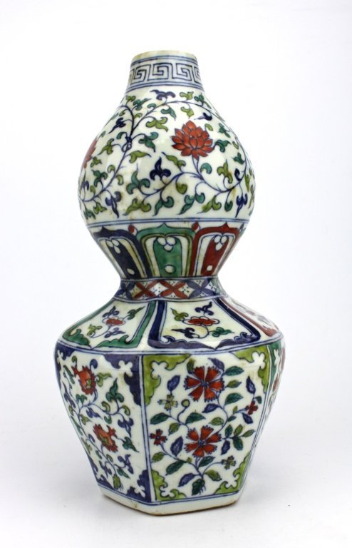 Large Chinese Qing DouCai Gourd  Porcelain Vase