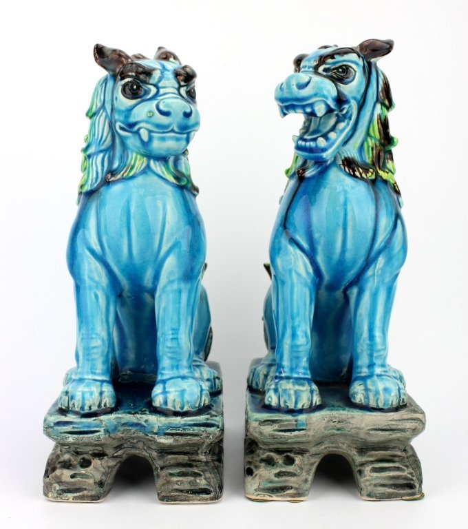 Pair of Chinese Blue Fu Dog