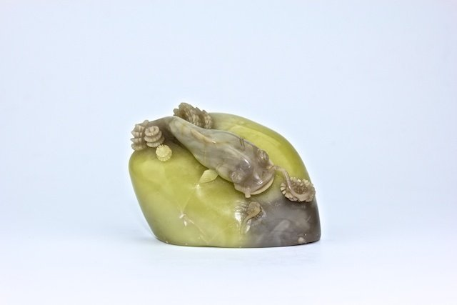 Nice yellow Stone with carved swimming fish