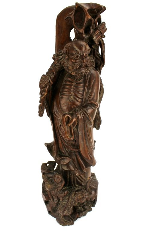 Large Chinese red hardwood Carved Luohan Figure