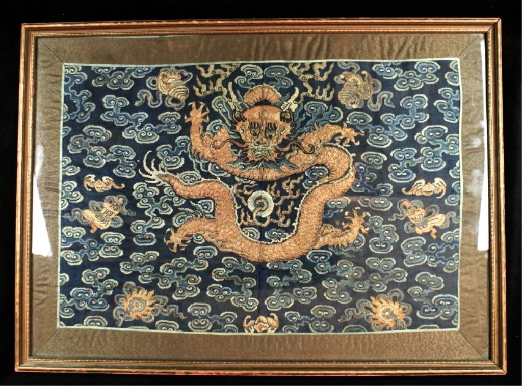 Old Chinese Framed Silk Cloth