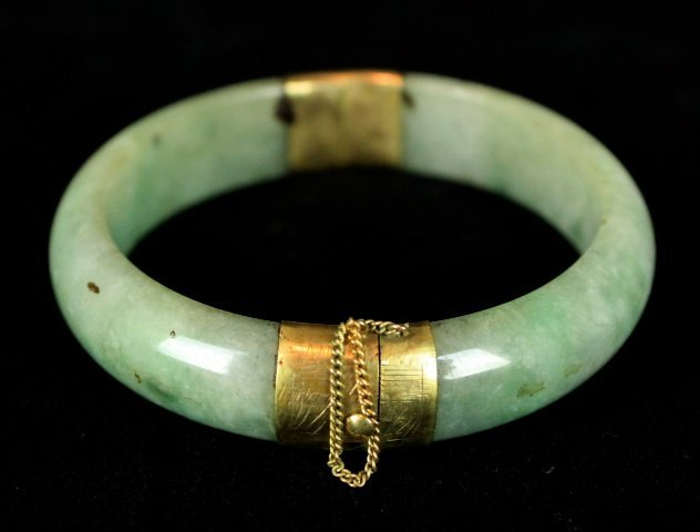 Old Chinese Jade Bracelet with Gold Buckle