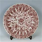 Chinese Ming Porcelain Under Red Glaze Plate