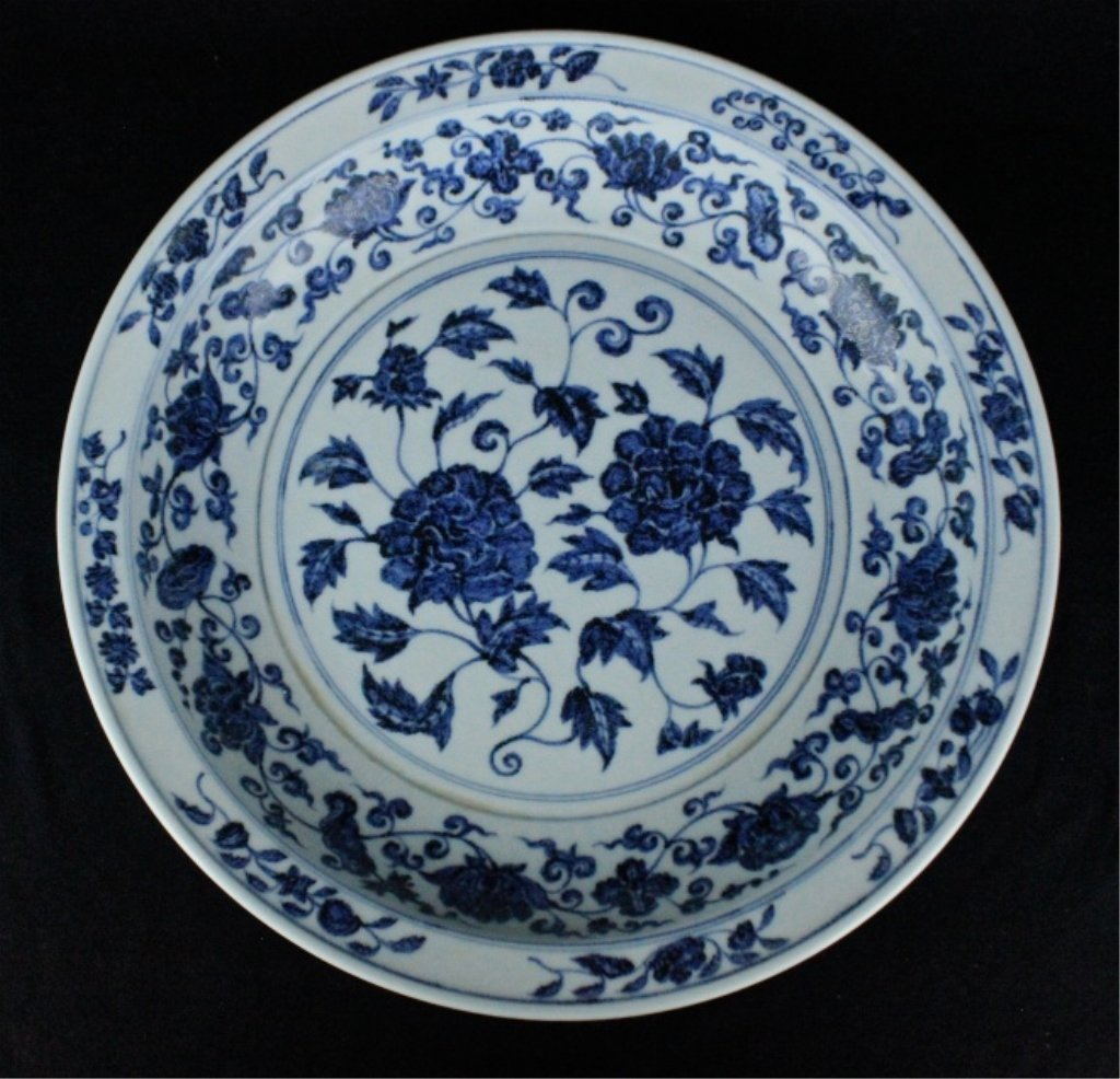 Large Ming Porcelain Blue&White Plate