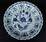 Large Ming Porcelain Blue&White Plate