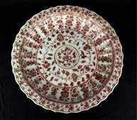 Large Ming Porcelain Under Red Plate