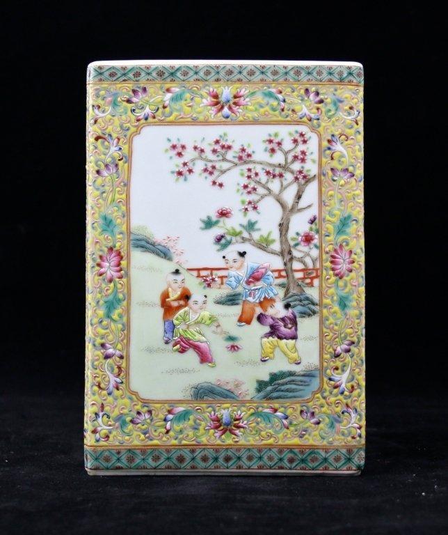 Chinese Qing Porcelain Famille Rose Brush Pot