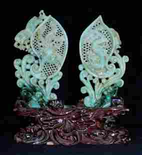 Pair of Old Chinese Natural Hand Carved Jadiete Fi