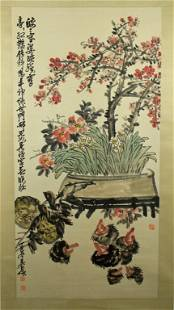 Chinese Scrolled Painting By Wu Chang Shuo