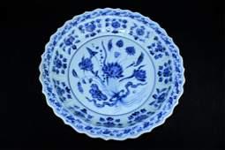 Large Chinese Ming Porcelain Single Lotus Plate