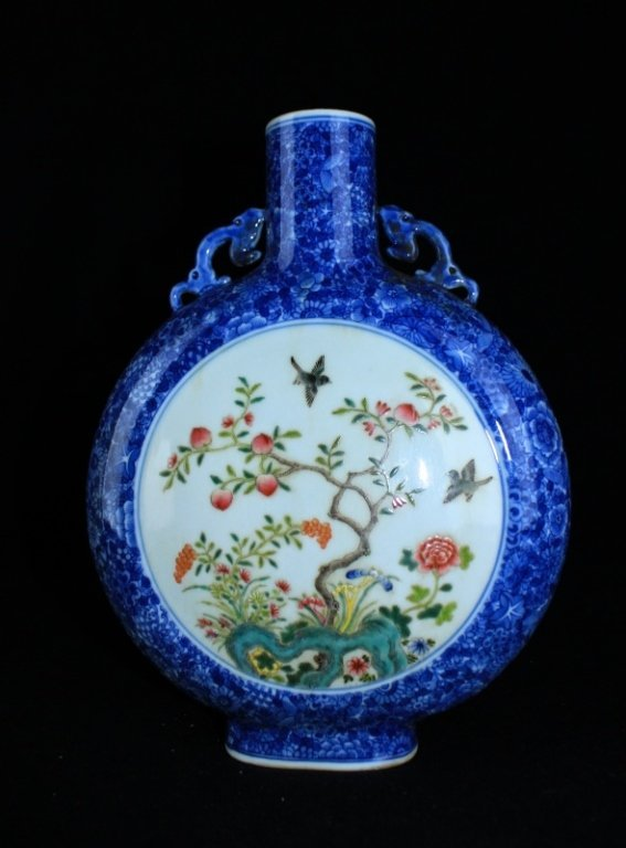 Chinese Qing Blue Famille Rose Floral Flask