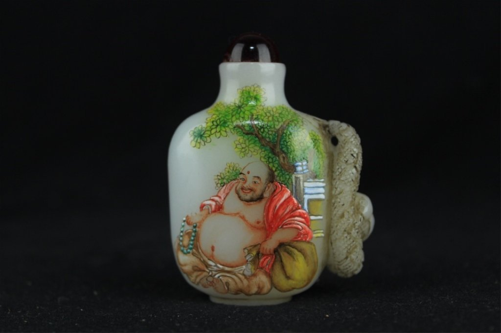 Chinese Qing Porcelain Enamel Snuff Bottle 2 3/4 x 2 x