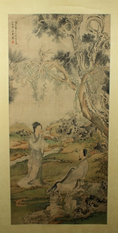 """Chinese Scrolled Painting By Xu Cao_x000D_ 96 x 31 1/4"""""""