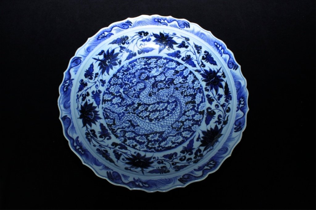 Large Chinese Ming Porcelain Blue&White Plate_x000D_ 18