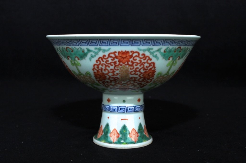 Chinese Qing Porcelain DouCai Handle Cup_x000D_ 5 3/4 x
