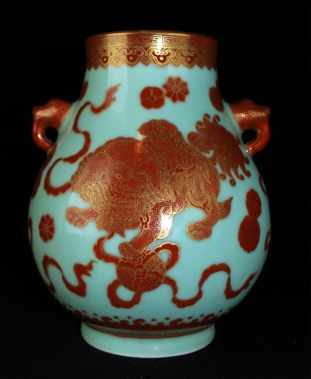 Chinese Qing Porcelain Gilted Gold UnderRed Lion Vase
